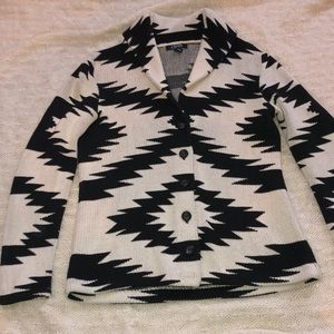 Aztec Printed Button Sweater